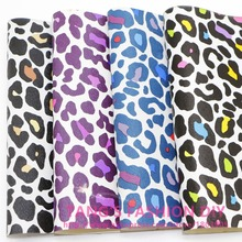 4PCS--High Quality DIY Leopard printed leather/Synthetic leather/DIY fabric 20x22cm per pcs CAN CHOOSE COLOR(China)