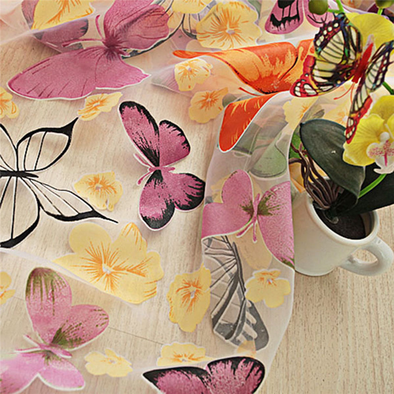 Butterfly sheer curtain panels