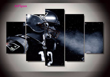 AtFipan England Patriots Footballer Tom Brady Canvas Paintings For Sport Fan As A Birthday Gift Wall Pictures For Living Room(China)