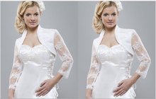 Sensual Looking New Style White Ivory Lace Satin Wedding Bolero Jackets 3/4 Sleeve Bridal Shawls