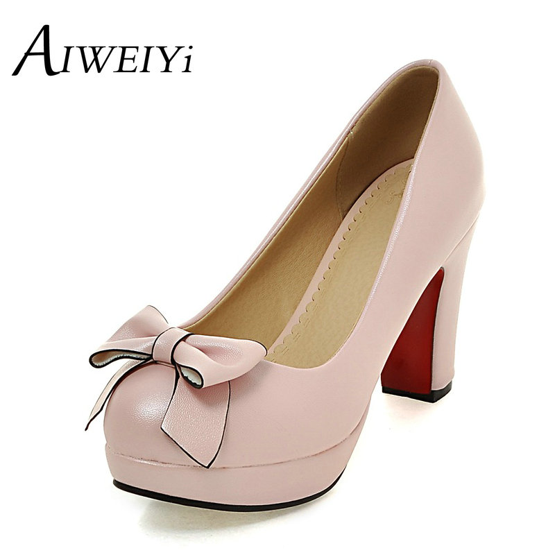 AIWEIYi Ladies Sweet Bow Thick Heel Shoes Patent Leather Round Toe Pumps Shoes Plus Size Black White Pink<br><br>Aliexpress