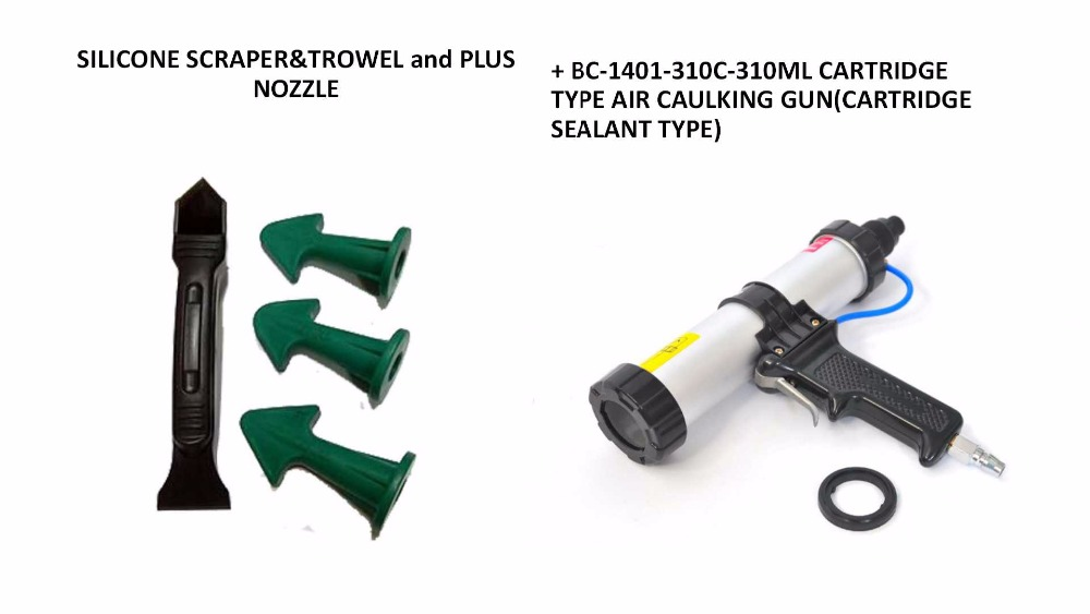 310ml Cartridge Type Pneumatic Caulking Gun and Multi-functional Sealant Scraper and Trowel Nozzle Plus Caulking Tools<br>