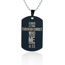 New Style Top Quality Bible text Cross Pendant Necklace Black Gun Dog Tag Stainless Steel Necklace XL-934
