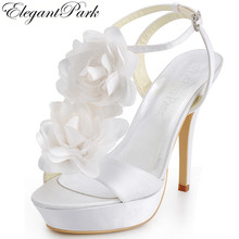 Sweet Sexy Summer Sandals Women EP2068-PF White Open Toe High Heel Flower Ankle Strap Shoes Satin Lady Woman Wedding Bridal Shoe