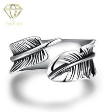 Mens Pinky Rings Simple Vintage Feather Open Biker Ring 316L Stainless Steel Silver Plated Jewelry for Party Male Gifts(China)