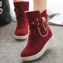 Women snow boots shoes butterfly-knot metal decoration winter shoes high heels wedges slip-on short plush cheap shoes(China)