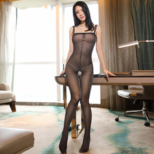 Buy 2018 New Sexy Oil Shiny Glossy Pantyhose Women High Elastic Thin Sexy Bodystockings Glitter Shoulder Strap Detail Tights