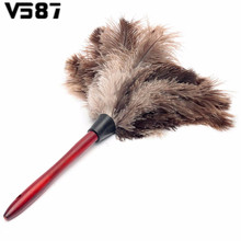 55cm Ostrich Natural Feather Duster Brush With Wood Handle Anti-static Cleaning Tool Household Furniturer Car Dust Cleaner