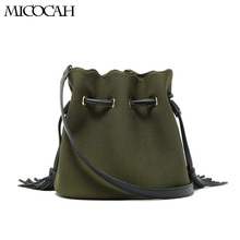 Micocah Bucket Bags Shoulder Bag Messenger Bag Wave Sshape Lace DrawString Padded Corduroy Material Tassel Simple Style A3629(China)