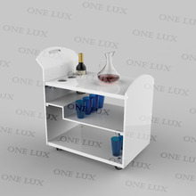White Rolling Plexiglass Serving Bar Cart,Lucite wine bottle rack trolley,Perspex Home Use table cart ONE LUX KD PACKED