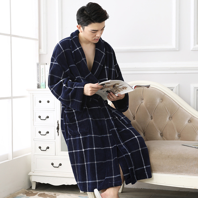 ming blue winter flannel robe set (4)