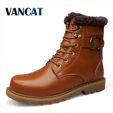 VANCAT 2017 Winter Warm Snow Men Shoes Genuine Leather Men Boots Mid-Calf Rubber Male Boots Genuine Fashion Fur Winter Boots