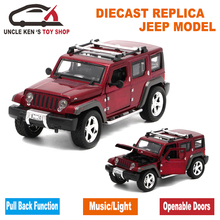 15Cm length Diecast Jeep Wrangler Model Cars, Replica Metal Toys With Functions For Children As Gift(China)