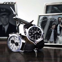 SINOBI New Fashion Sport Men Watches Pilot Quartz Wristwatch Male Black Leather Band Chronograph Relogio Masculino 2017(China)