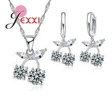 JEXXI Charm Women Cubic Zircon Crytal Necklace Earrings Set Fashion 925 Sterling Silver Bridal Wedding Jewerly Sets Accessory