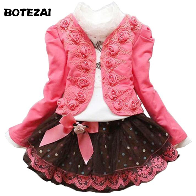New Arrival 2015 Autumn Winter baby girls Flower Lace Dresses children Clothing Jacket coat + T shirt + dress Kids girls Clothes