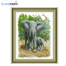 oneroom  DMC Cross stitch,Sets For Embroidery kits,Precise Printed elephants Patterns Counted Cross-Stitching