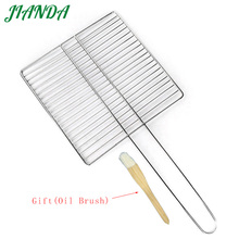 JIANDA Stainless Steel Long Handle Barbecue Wire Mesh BBQ Net Meat Fishes BBQ Grills Outdoor BBQ Grill Tools Kitchen Accessories(China)