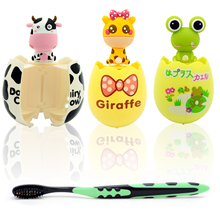 Egg Shape Cartoon Animal Toothbrush Holder Rack Stand with Two Suction Cup Toilet Requisites