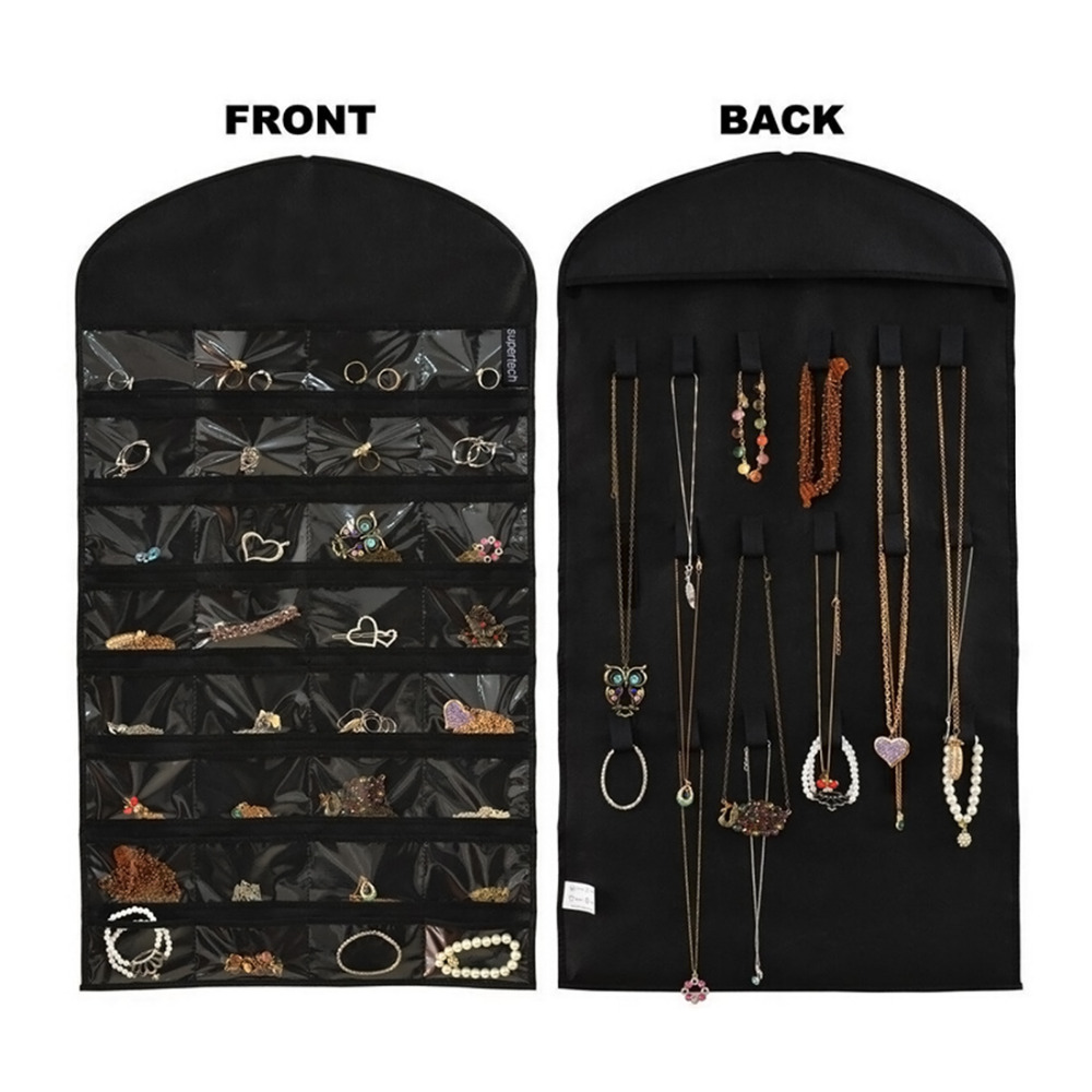 Hot Sale Dual Sides Jewelry Organizer Hanging Storage Bag Earring Rings Holder 32 Pockets 18 Hook Loops with Hanger(China (Mainland))