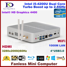 Fanless linux mini pc core i5 4200u 4GB RAM+500G HDD,Intel HD 4400 Graphics,4*USB 3.0 ports HDMI,tiny pc 4K HD HTPC