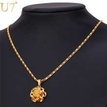 U7 Flower Jewelry Gold Color Fashion Jewelry Wholesale Plant Pendant Necklace For Women Gift P669(China)
