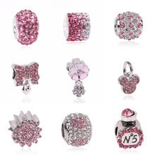 Couqcy Lovely Pink Beads Fit Original Pandora Bracelet Necklace Big Hole Diy Charms For Women Enamel Heart Shape Pendant Gift(China)