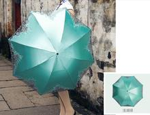 2016 Sun umbrella UV protection Sun umbrella girl vinyl rain dual folding umbrella lace umbrella parasols free shipping  LH861
