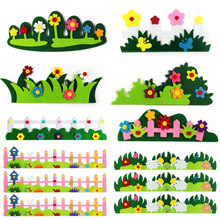EVA Flower Grass Colorful Fence Kindergarten Baby's Room Wall Stickers Decoration Children DIY Assembling 3D Puzzles Toys Gifts(China)