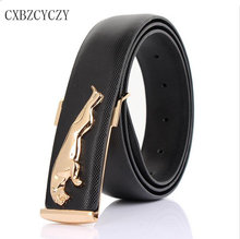 2017 Men's fashion wild designer jeans boss belts gold metal belt buckle leopard casual smooth metal leather belt brand