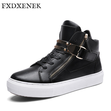 FXDXENEK Men Fashion Sneakers Luxury Microfiber Leather Men Casual Shoes High Top Zipper Flats Fashion Lace-Up Men Ankle Boots(China)