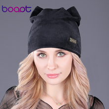 [boapt] cat ears hat girl caps metal label soft flannel winter hats for women beanie warm bonnet ladies casual skullies beanies(China)