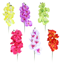 Artificial Flower DIY Plastic Artificial Butterfly Moth Orchid Silk Flower Bouquet Phalaenopsis Wedding and Home Decoration