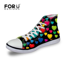 FORUDESIGNS Women's High Top Canvas Shoes Fashion Black Heart Shaped Printed Women Casual Vulcanized Shoes Female Lace Up Shoes