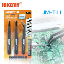 3pcs JAKEMY Triad Anti-static Tweezers Set Fix Hand Repair Tool Kit for iPhone Mobile Cell Phone Tablets Electronic Components(China)