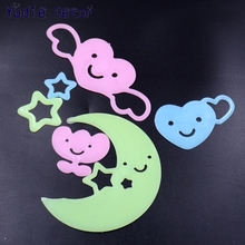 6Pcs Clouds Moon Stars Energy Storage Fluorescent Glow In The Dark Kids Bedroom Insect Wall Stickers Baby Rooms Home Decoration