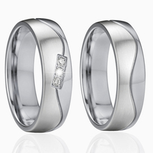 2017 jewelry wedding band set couple rings pair for lovers titanium ring silver color two tone jewellery never fade(China)