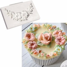Floral Swag Silicone Sgarcraft Molds Cupcake Stencil Soap Chocolate Moulds Accesorios Cocina Wedding Decoration Christmas A972(China)