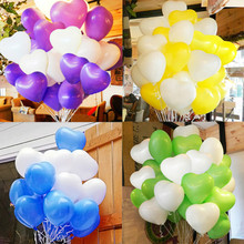 10pcs/lot Romantic 12 Inches 2g Pink Love Heart Latex Wedding Helium Balloons Valentines Day Birthday Party Inflatable Balloons