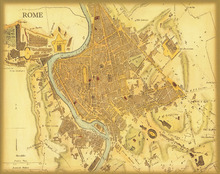 Vintage Italy Rome MAP Oil Painting Canvas Retro Print Wall Art Picture Sticker Poster Cheap Home Cafe Decoration Poster EP05
