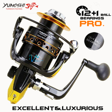 High quality Fishing reel spinning reel Metal main body 12+1 Ball bearings 5.5:1 Gear Ratio High speed Fishing wheel Rod Combo(China)