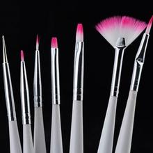 7Pcs Nail Art Polish brushes pens for nail painting drawing Brush Tips nail tools Set Fibre Fur Cosmetic