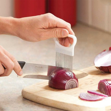 Kitchen Gadgets Handy Stainless Steel Onion Holder Tomato Slicer Vegetable Cutter Safety Cooking Tools(China)