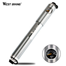 WEST BIKING Cycling Pump Aluminum Alloy Portable With Pressure Gauge Tire Inflator Front Fork Schrader Presta Valve Bicycle Pump(China)