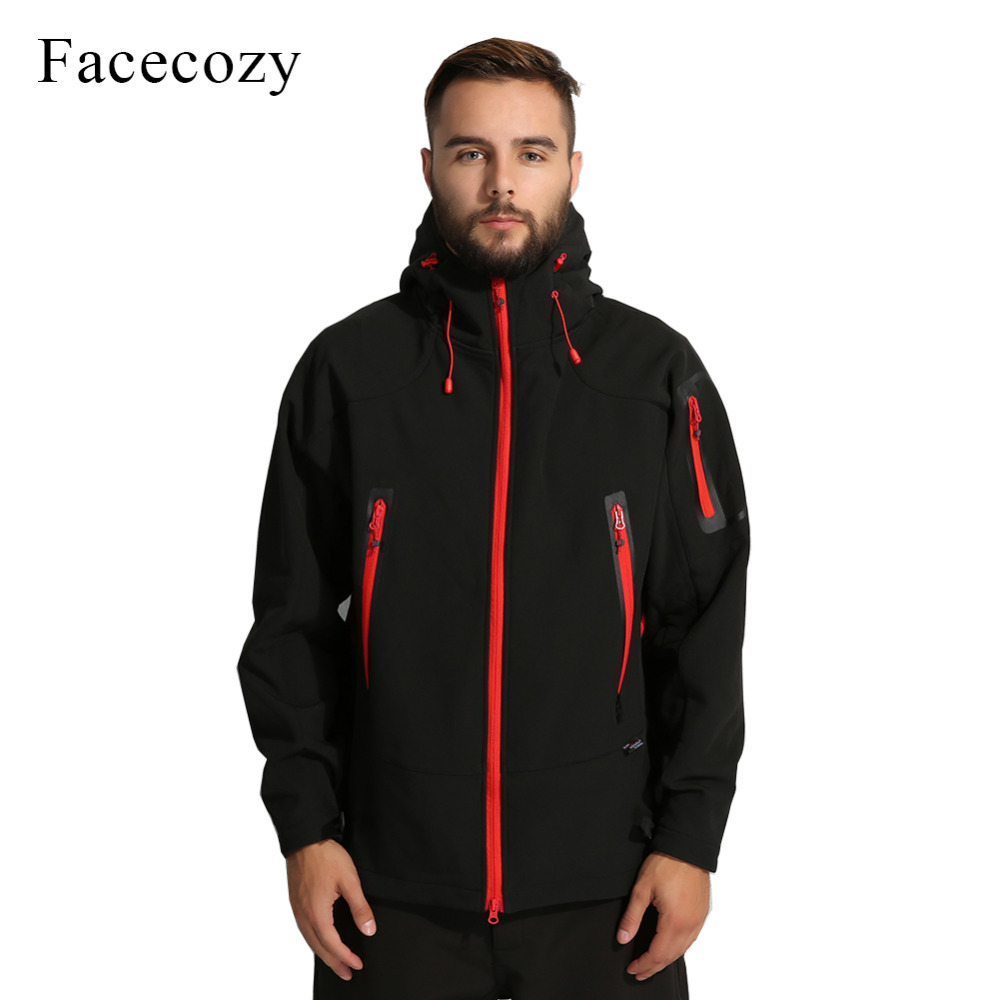 Facecozy Mens Autumn Outdoor Breathable Camping Softshell Jacket Front Zipper Hooded Thermal Fishing Coat<br>