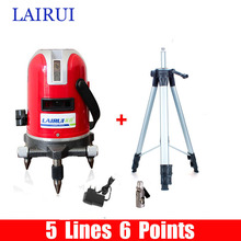 LAIRUI brand 5 lines 6 points laser level 360 degree rotary cross laser line level Tilt Slash Function with tripod