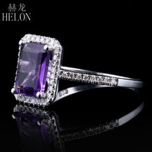 HELON Hot! 8x6mm Emerald Shape 1.9ct Amethyst & Round Natural Diamond Wedding Ring Sterling Silver 925 Women's Jewelry Fine Ring
