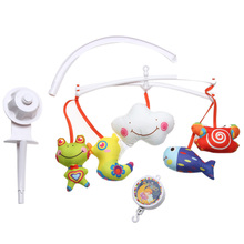 Baby Rattles Bracket Set Crib Mobile Bed Bell Toy +Wind-up Music Box +5 pcs Cartoon Doll Plush Toy 0-24 Months