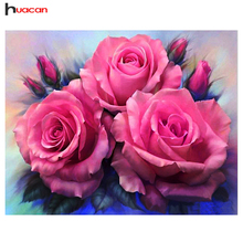 Huacan Flowers Diamond Embroidery Full Kit Square Diamond painting Cross Stitch Peony Pattern Rhinestone Handmade Diamond Mosaic
