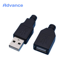 1 Pair USB Connector Male & Female DIY 2.0 Micro Free Shipping Connectors Charging Socket Micro USB Plug Tail Black Plastic Cove